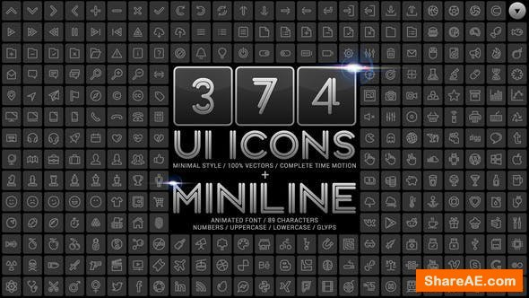 Videohive UI Minimal Icons & Miniline Font