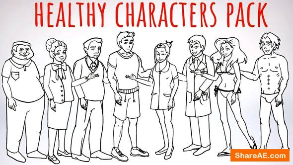 Videohive Healhty Lifestyle - Sport, Fitness, Medicine Characters - Doodle Whiteboard Animation