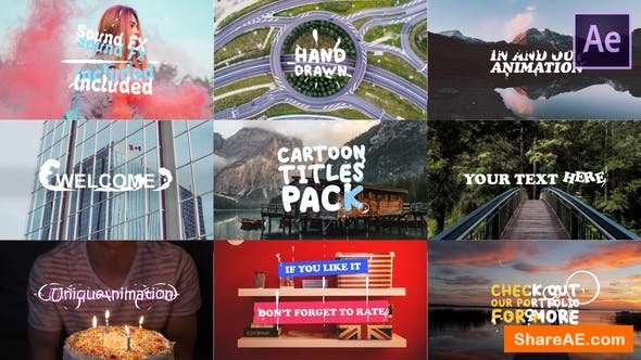 Videohive Cartoon Titles Pack | After Effects Template