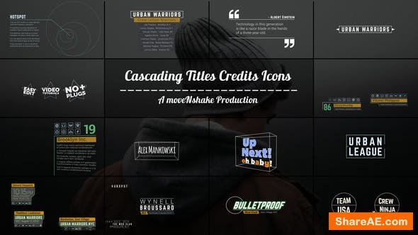 Videohive Cascading Titles Credits Icons Quotes