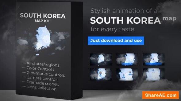 Videohive South Korea Map - Republic of Korea Map