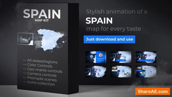 Videohive  Spain Animated Map - Kingdom of Spain Map Kit