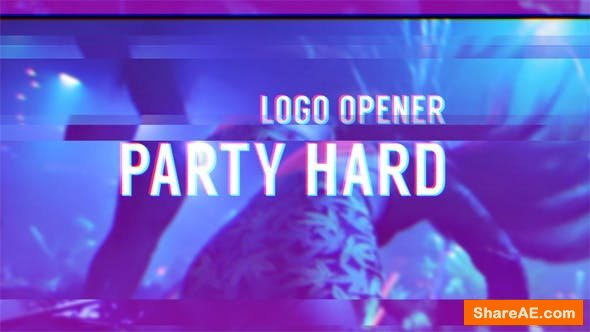 Videohive Party Hard - Glitch Logo Opener