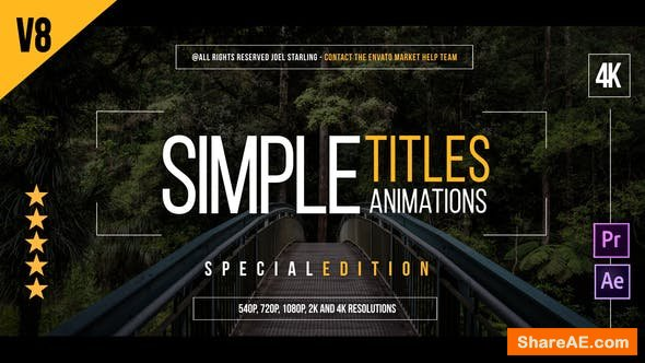 Videohive 45 Simple Titles v8 4K (Edition Special)