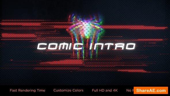 Videohive Glitch Comic Intro