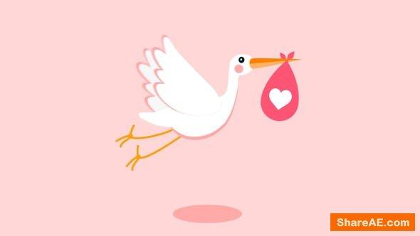 Videohive Stork - Baby Birthday Opener