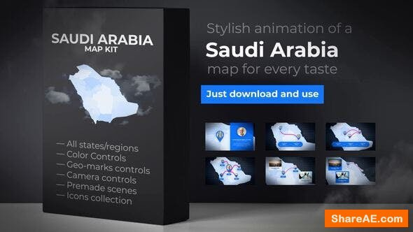 Videohive Saudi Arabia Map - Kingdom of Saudi Arabia Map Kit
