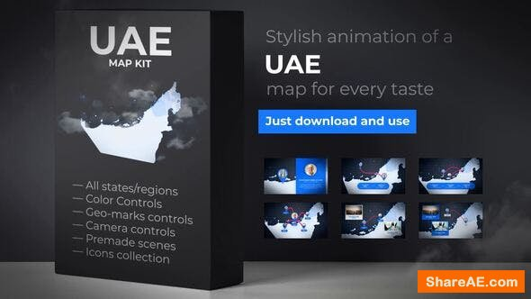 Videohive United Arab Emirates Map - Emirates UAE Map Kit