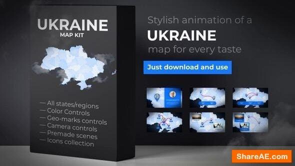 Videohive  Ukraine Map - Ukraine UKR Map Kit
