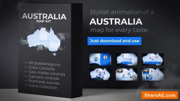 Videohive Australia Map Animation - Commonwealth of Australia Map Kit