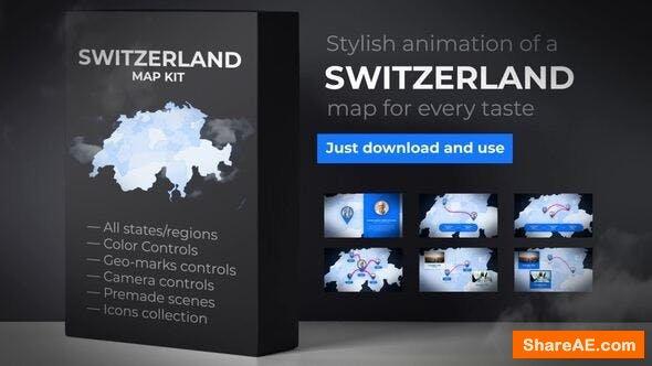 Videohive Switzerland Map - Swiss Confederation Map Kit