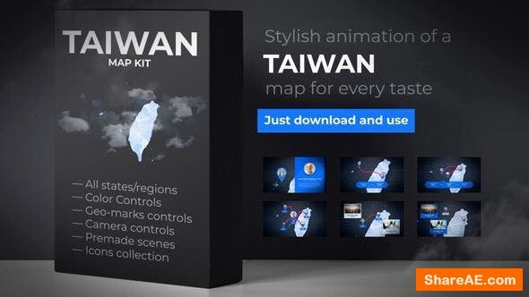 Videohive Taiwan Animated Map - Republic of China ROC Map Kit