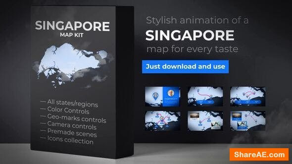 Videohive Singapore Animated Map - Republic of Singapore Map Kit