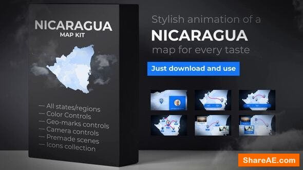 Videohive Nicaragua Animated Map - Republic of Nicaragua Map Kit