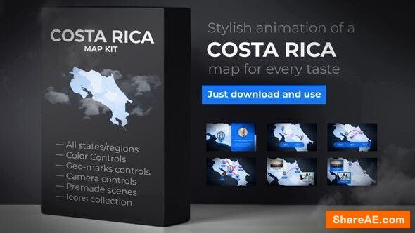 Videohive Costa Rica Animated Map - Republic of Costa Rica Map Kit
