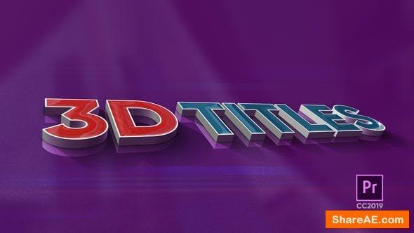 Videohive 3D Titles - Premiere Pro