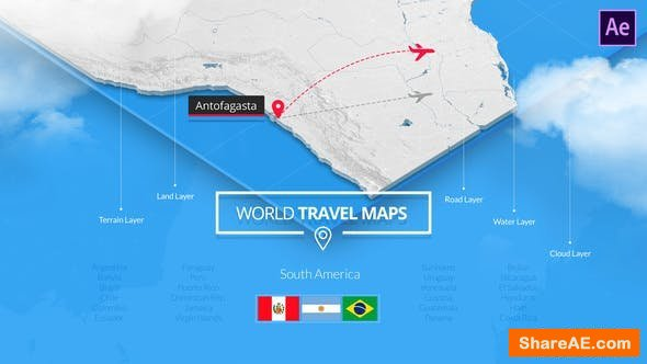 Videohive World Travel Maps - South America