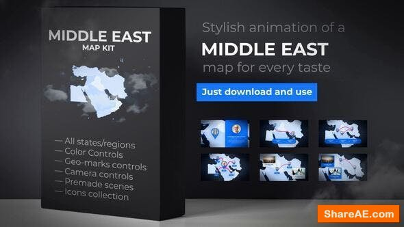 Videohive Map of Middle East with Countries - Middle East Map Kit