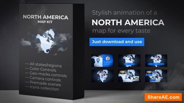 Videohive Map of North America with Countries - North America Map Kit