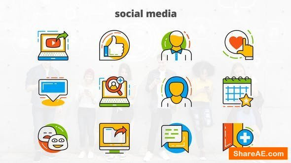 Videohive Social Media - Flat Animated Icons