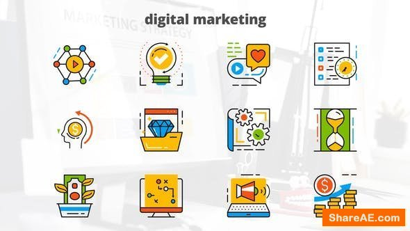 Videohive Digital Marketing - Flat Animated Icons