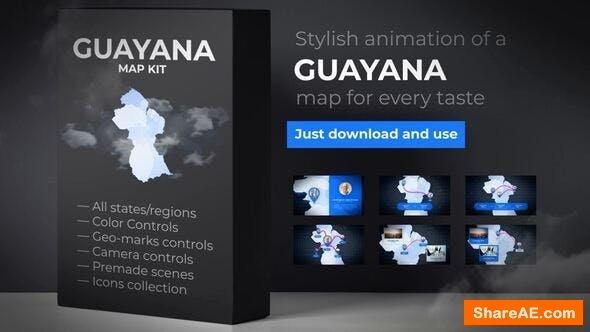 Videohive Guyana Animated Map - Co-operative Republic of Guyana Map Kit