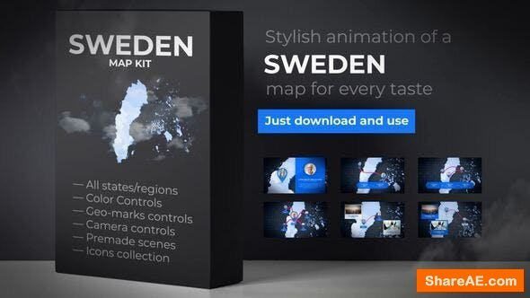 Videohive Sweden Animated Map - Kingdom of Sweden Map Kit