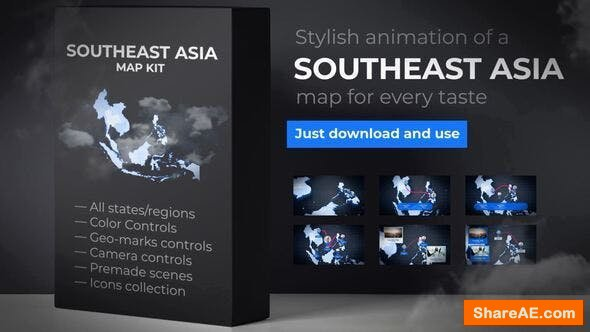 Videohive Southeast Asia Animated Map - Southeastern Asia Map Kit