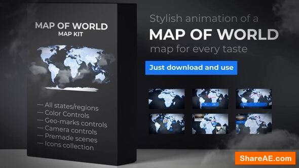 Videohive Map of World with Countries - Animated Map