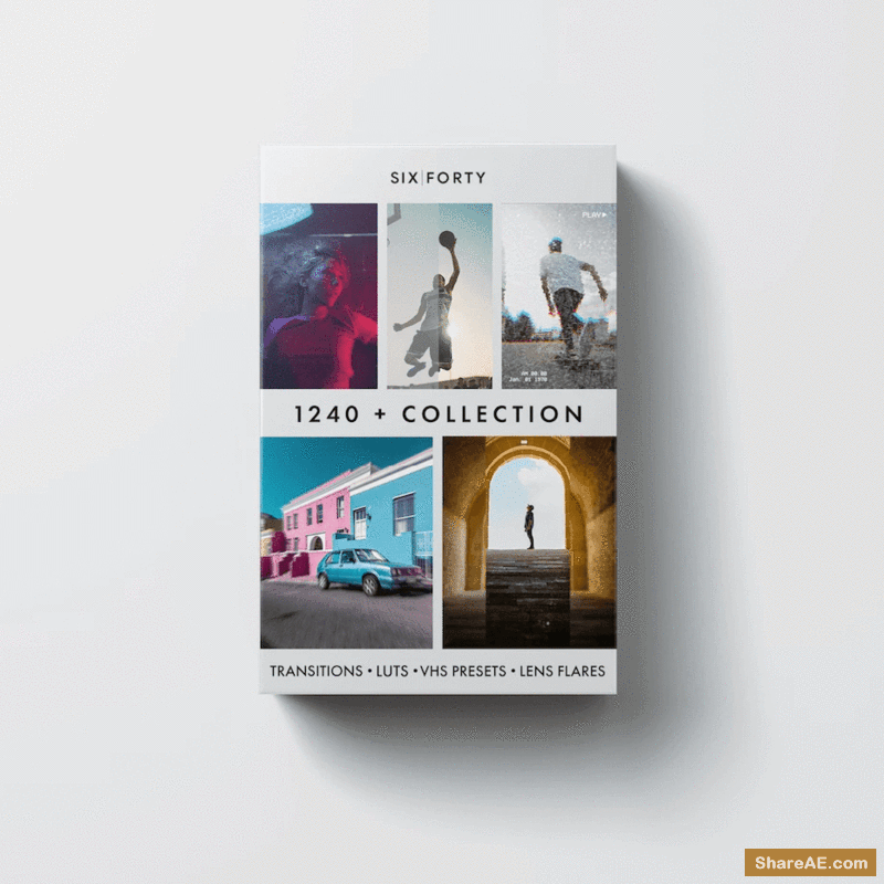 1,240 Transitions Master Collection Includes FREE LUTS, Lens Flares and VHS Presets - 640studio