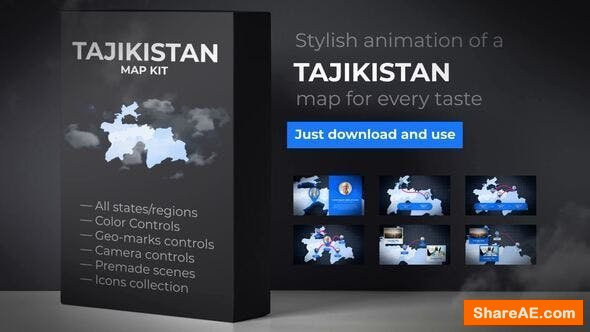 Videohive Tajikistan Map - Republic of Tajikistan Map Kit
