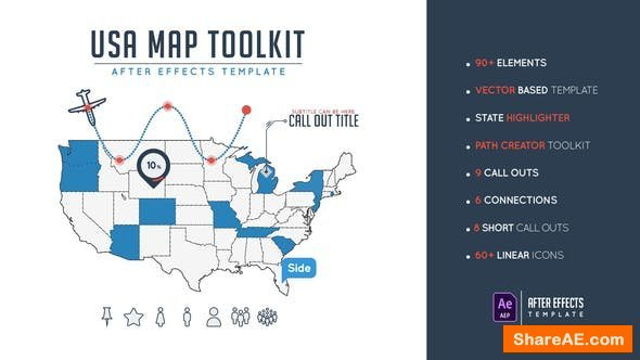 Videohive Usa Map Toolkit