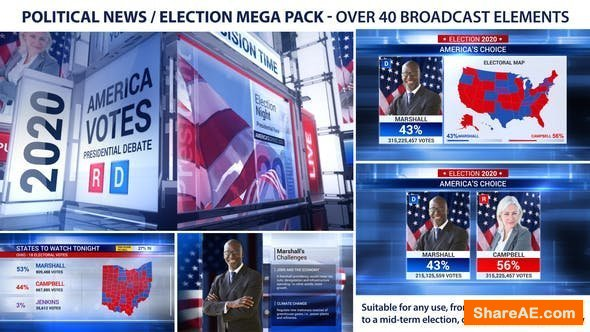 Videohive Broadcast - Political News / Election Mega Pack