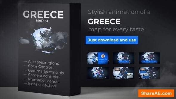 Videohive Greece Map - Hellenic Republic Map Kit - Hellas Animation