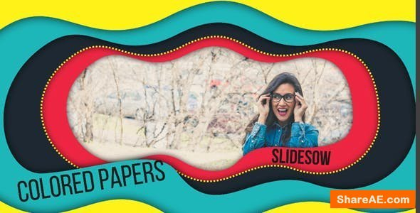 Videohive Colored Papers Slideshow