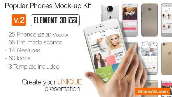 Videohive Popular Phones Mock-up Kit 13642951