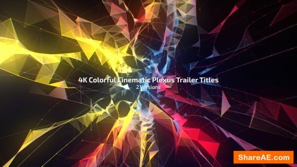 Videohive 4K Colorful Cinematic Plexus Trailer Titles (2 Versions)
