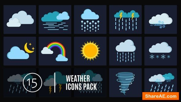 Videohive 15 Weather Icons Pack