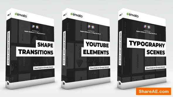 Videohive Typography Scenes, Lower Thirds, YouTube Kit and Shape Transitions - Final Cut Pro