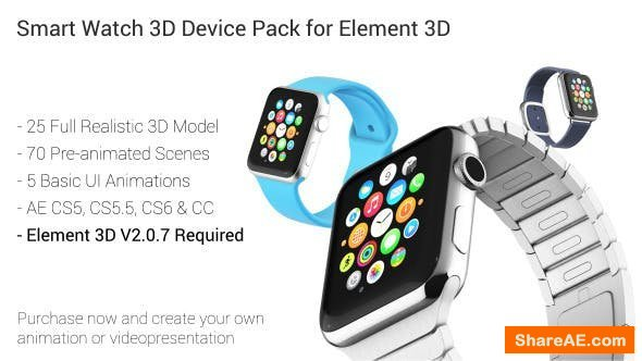 Videohive Smart Watch 3D Device Pack for Element 3D