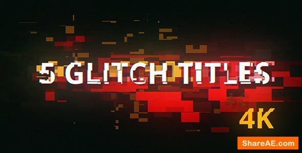 Videohive 5 Glitch Cyberpunk Titles