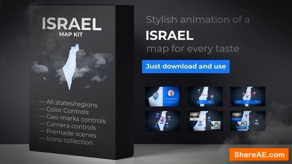 Videohive Israel & Palestinian Territories Map - State of Israel Map Kit