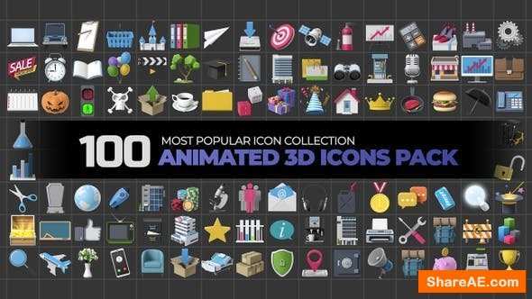 Videohive 100 Animated 3D Icons Pack - Motion Graphic