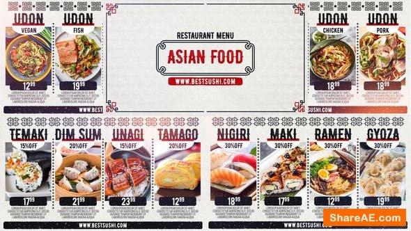 Videohive Asian Restaurant Menu