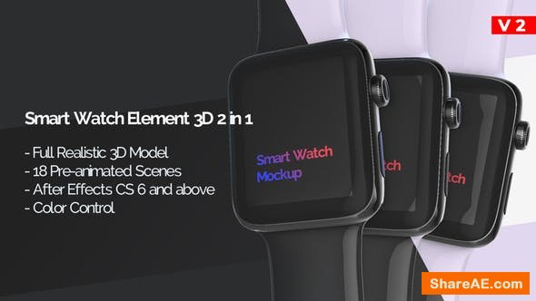 Videohive Smart Watch 3D Model Mockup - App Promo