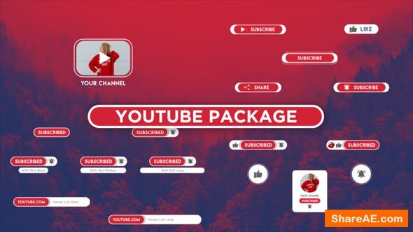Videohive Opener Youtube Package Button Subscribe