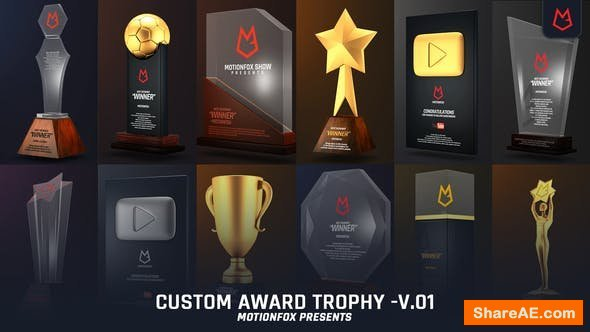 Videohive Custom Award Trophy - Loopable Pack v.01