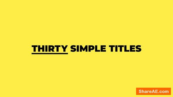 Videohive Thirty Simple Titles