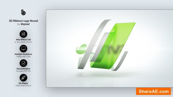 Videohive 3D Ribbons Logo Reveal