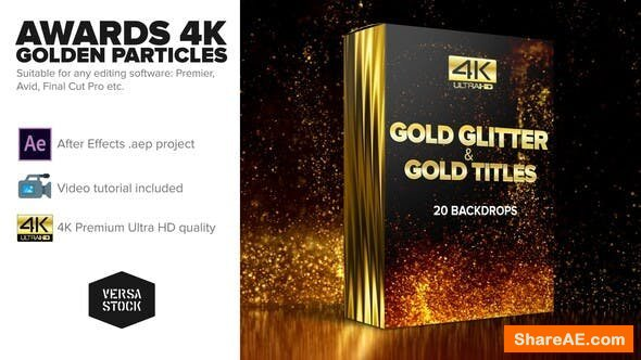 Videohive Awards 4K Golden Glitter Particles Titles